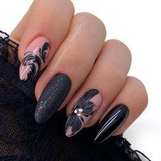 Black Manicure, Black Nails, Orange Nails, Gorgeous Nails, Nail Arts, Nail Art Designs, Magic Nails, Tomboy, Fun Things