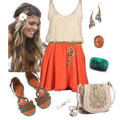 <3 Boho Chic, indeed. Love the  nude and orange color combo. Perfect summer outfit for lounging with friends.