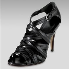 """Cole Haan Air """"Shayna"""" Strappy Black Heels Leather upper and leather sole.  4.25"""" heel.  Hidden Nike Air technology for comfort.  Made in Brazil.  Barely worn (like 2 times max) so in like new condition.  Comes with CH dust bag but no box. Cole Haan Shoes Sandals"""