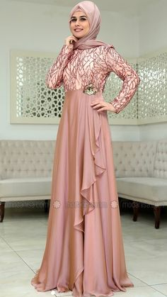 New Model Long Dress Brokat Ideas Muslim Evening Dresses, Hijab Evening Dress, Hijab Dress Party, Muslim Dress, Abaya Fashion, Fashion Mode, Modest Fashion, Fashion Dresses, Fashion 2020
