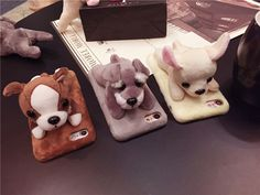 Cute Plush Doll Chihuahua Bulldog Schnauzer Phone Case For iPhone 6 6S Plus 7 7 Plus Lovely Dog Toy Back Cover Coque Fundas Capa