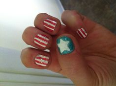 Patriotic Fourth of July nails