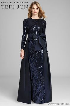 Teri Jon by Rickie Freeman Long Sleeve Sequin Gown with Taffeta Skirt Overlay Navy Evening Dresses, Evening Gowns With Sleeves, Dresses With Sleeves, Bride Dresses, Gown With Slit, Navy Gown, Taffeta Skirt, Sequin Gown, Sequin Fabric