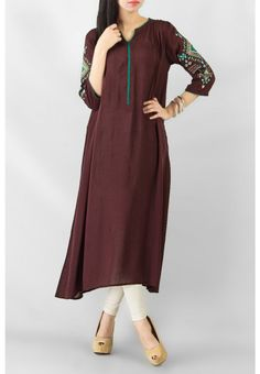 Brown Mix Cotton Aspen Kurta with Green Piping on Neck & Button Placket – COD, Free Shipping & 7-Day Returns | Daraz.pk