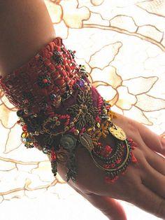 Bohemian Gypsy cuff bracelet from AllThingsPretty etsy