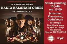 This is the last week before the much awaited live performance from Radio Kalahari Orkes on the July. Ensure you don't miss them by booking today. Live Music, Things To Do, Movie Posters, Movies, Things To Make, Films, Film Poster, Cinema, Movie