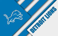 Download wallpapers Detroit Lions, 4k, logo, NFL, blue white abstraction, material design, American football, Detroit, Michigan, USA, National Football League, NFC North