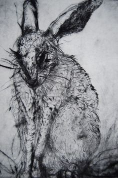 Nicole Etienne, Naughty, dry point etching, 10 x 8 inches
