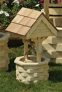 Amish Outdoor Wooden Wishing Well with Cedar Roof - Small
