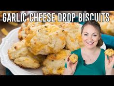 A super simple recipe for Garlic Cheese Drop Biscuits. Ready in under 25 minutes, no mixer and no rolling pin! A quick and easy side dish for any dinner! Garlic Cheddar Biscuits, Garlic Cheese, Cheese Biscuits, Grated Cheese, Cheddar Cheese, Easy Drop Biscuits, Pastry Brushes, Salted Butter, Side Dishes Easy