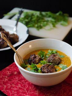 Roasted Kabocha Squash, Carrot & Ginger Soup With Lamb Meatballs | soletshangout.com - I think kabocha squash is kent pumpkin here