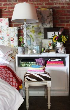 How to Style a Nightstand by Jamie Meares // white refurbished //  via The Everygirl