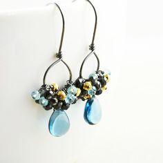 Blue Topaz Dangle Earrings Hoop Earrings December Birthday