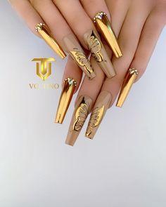 Golden Nail Art, Golden Nails, Acrylic Nail Designs, Nail Art Designs, Acrylic Nails, Nails Design, Nail Polish Kits, Polygel Nails, Short Hairstyles