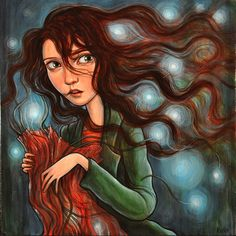 Unraveled - by artist Kelly Vivanco. Love her hair and the lights behind her. Once again, haunting.