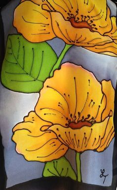 Gorgeous hand painted silk scarf yellow by FantasticPheasant