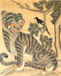 Magpie & Tiger Painting. 작호도 The tiger is beloved to prevent disaster and bring blessing.