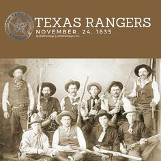 On this day in 1835 the Texas Rangers were officially established by the Republic of Texas. Since then, they have become one of the most iconic law enforcement groups in the world. Texas State Map, Texas Pride, Texas Longhorns, Republic Of Texas, The Republic, Texas Rangers Law Enforcement, Tx Rangers, Eyes Of Texas, Old West Photos