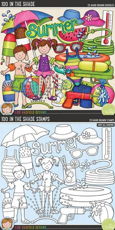 100 in the Shade is a collection of scorching summer doodles to help you celebrate the summer sun! Perfect for your pool and back yard photos! 100 in the Shade doodles and stamps from Kate Hadfield Designs