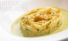 """Recipe recipe recipe - Capellini alla Moresca: Angel Hair Pasta with Grey Mullet """"Bottarga"""" Roe and Sea Urchin"""