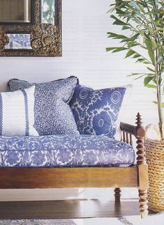 Pink Tropical Bedroom: The Pink Pagoda: Tropical Blue and White Monday Blue And White Fabric, White Fabrics, Home Interior, Interior And Exterior, Interior Design, Deco Ethnic Chic, Wood Daybed, Wooden Sofa, British Colonial Style