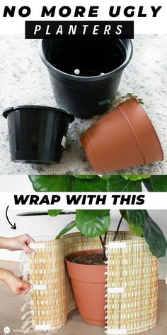 With this Ugly Pot HACK you'll have pretty planters in minutes! 3 ways to Transform your ugly plastic pots in minutes! This easy hack only. Plastic Planters, Diy Planters, Patio Plan, Plantas Indoor, Diy Plant Stand, House Plants Decor, Creation Deco, Diy Crafts To Sell, Container Gardening