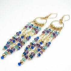 Superb Earrings, 14k Gold Filled, Gemstone, Crystal Apatite, Amethyst, Shoulder Dusters - Ozmay Designs