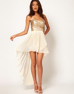 TFNC Dress with Sequin Bandeau and Hi Lo Skirt