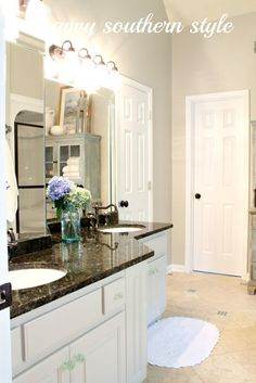 Savvy Southern Style: Master Bath Cabinets are Finished BM Paint for Cabinets! Savvy Southern Style, Southern Living, Basement House Plans, Bath Cabinets, Country Style Homes, Country Décor, Modern Country, Living Room Remodel, Paint Colors For Home