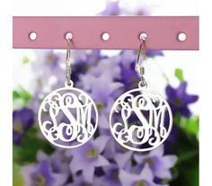 Personalized Hoop Monogram Earrings in Sterling Silver 925