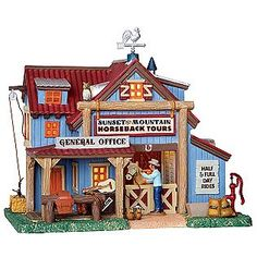Lemax Village Collection  Christmas Village Building, Porcelain Lighted House Sunset Mt. Horseback Tours With 6 Foot Cord