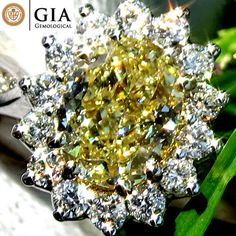 Catawiki Untreated 1.40 Ct Natural Fancy Yellow #Diamond Solitaire Engagement Ring in 18 kt white gold – GIA Cert - No Reserve