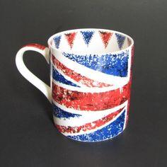 British Flag Union Jack Coffee Mug Tea Cup Bone China Queens Backing Britain New
