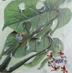Red-eyed tree frogs after rain Painting Original Artwork, Original Paintings, Acrylic Paintings, Red Eyed Tree Frog, Rain Painting, Tree Frogs, Saatchi Art, Plant Leaves, Canvas Art