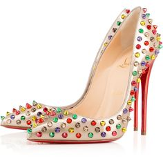 Christian Louboutin Follies Spikes (2 026 245 LBP) ❤ liked on Polyvore featuring shoes, pumps, heels, christian louboutin, spiked pumps, women shoes, high heel pumps, high heel shoes и court shoes