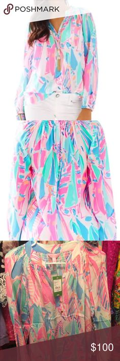 Lilly Pulitzer Out to Sea Elsa Top NWT New with tags out to sea elsa top Lilly Pulitzer Tops Blouses