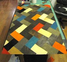 DIY Home Decor DIY Leather Herringbone Floor Mat