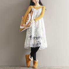 Mori Girl Style Dress 2017 Spring Summer Women Students Cute Preppy Spaghetti Strap Embroidery Lace Dress Loose Bottom Vestidos