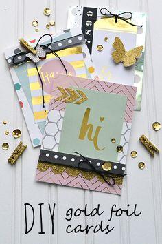 Aly Dosdall: DIY gold foil cards: heidi swapp minc