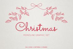 Creative Market Christmas graphics by Emily Schramm graphic designer and illustrator.  Graphic design, graphic designer, illustrator, illustration, hand drawn, christmas, monoline, halftone, bows, birds, holly, mistletoe, christmas trees, graphic frames, winter houses, stockings, reindeer, snowflake, stars, poinsettia, berries, bells, ornaments, pine, christmas lights.
