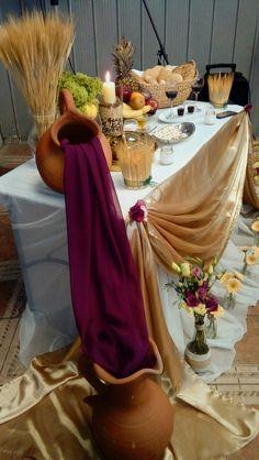 Communion Centerpieces, First Communion Decorations, First Communion Party, Church Altar Decorations, Wedding Decorations, Table Decorations, Decoration Evenementielle, Traditional Wedding Decor, Church Stage