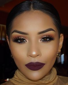 Best Dark Make-Up Looks for Black Women's Skin - Trends Ideas 2018 - US Makeup Trends Glam Makeup, Makeup On Fleek, Flawless Makeup, Girls Makeup, Gorgeous Makeup, Pretty Makeup, Love Makeup, Skin Makeup, Makeup Inspo