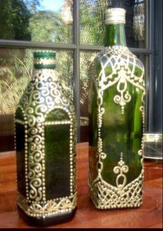 Hand Painted Green Moroccan Henna Design Olive Oil por BodegaMarket