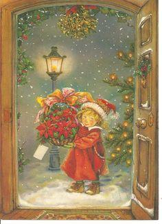 I Love This Vintage Christmas Postcard! Old Time Christmas, Old Fashioned Christmas, Christmas Scenes, Christmas Past, Victorian Christmas, Christmas Greetings, Winter Christmas, Christmas Crafts, Christmas Mantles