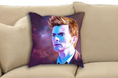 Doctor Who David Tennant 10th Doctor The Main Who Keeps Running Fan Art Throw Pillow by sugarpoultry