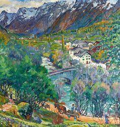 Giovanni Giacometti, (Stampa 1868 - 1933 Glion) Paesaggio di Bregaglia (novembre). Bergell landscape. 1924