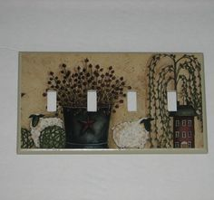 PRIMITIVE COUNTRY Blue Salt box house Single Willow tree SWITCH  COVER