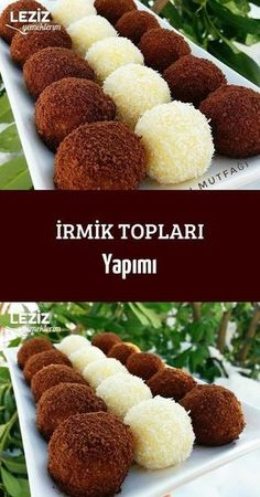 Semolina Balls Making The most beautiful, most delicious, newest recipes on this page. Köstliche Desserts, Delicious Desserts, Dessert Recipes, Yummy Food, Tasty, Brownie Desserts, Cake Recipes For Kids, Easy Cake Recipes, Turkish Recipes
