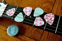 6 floral and polka dot guitar picks in a tin by PickyGuitarPicks
