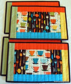 4 Quilted Placemats - Color Block with Fun Retro-look Cups, Mugs, Forks, & Spoons Fabrics